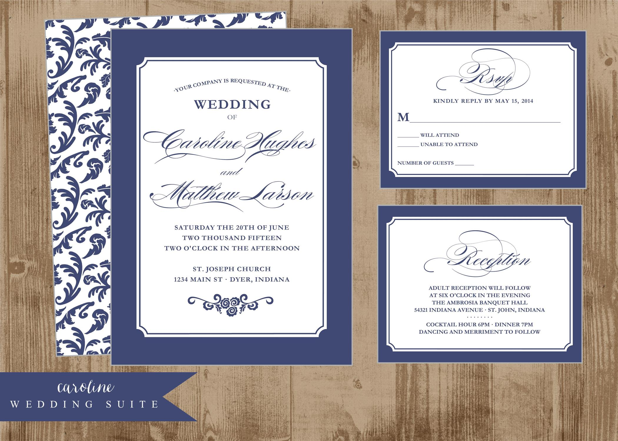Navy Blue Wedding Invitations Marina Gallery Fine Art