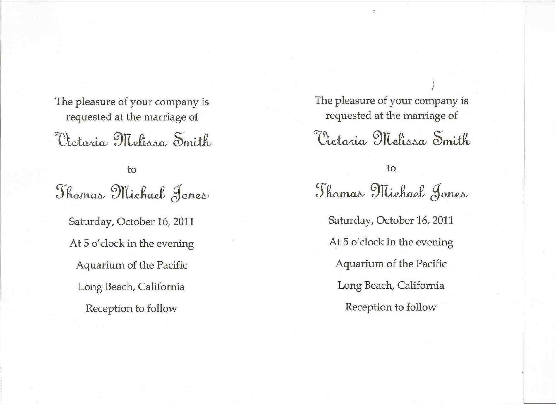 Traditional Wedding Invitation Wording Marina Gallery