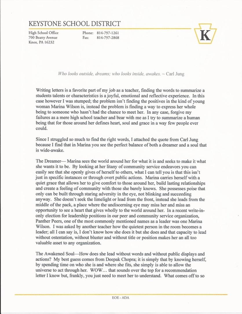 penn state university recommendation letter