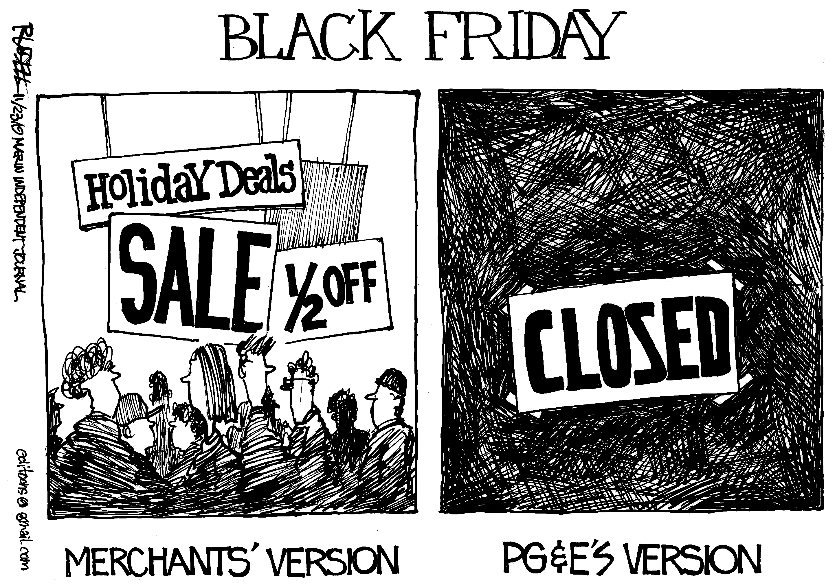 George Russell Don T Let Pg E Turn Black Friday Into A Blackout Marin Independent Journal
