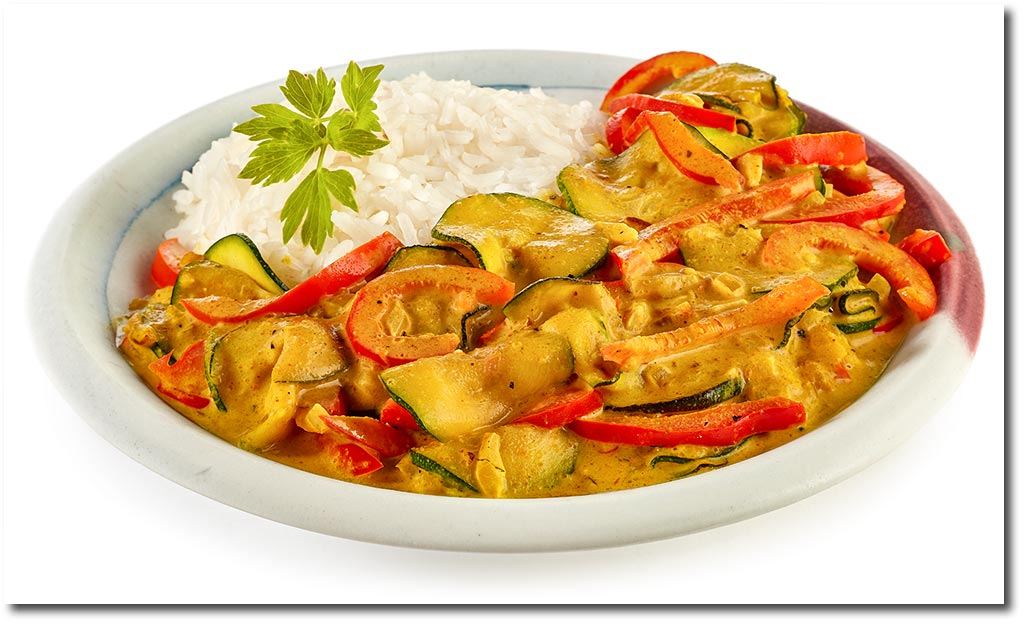 Kokos Gemüse Curry Zucchini Curry Reis Rezept