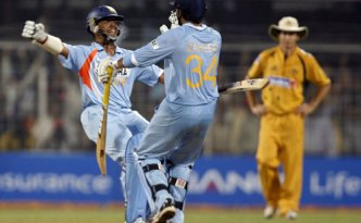 India celebrating after beating Australia on 24 March 2011 for the spot in the final four