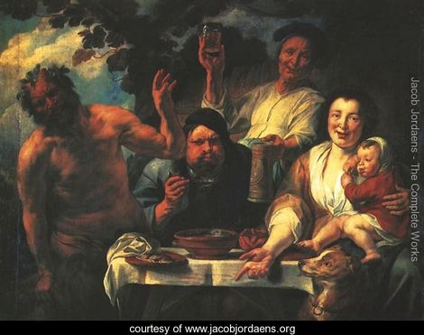Satyr with peasants Jacob Jordaens