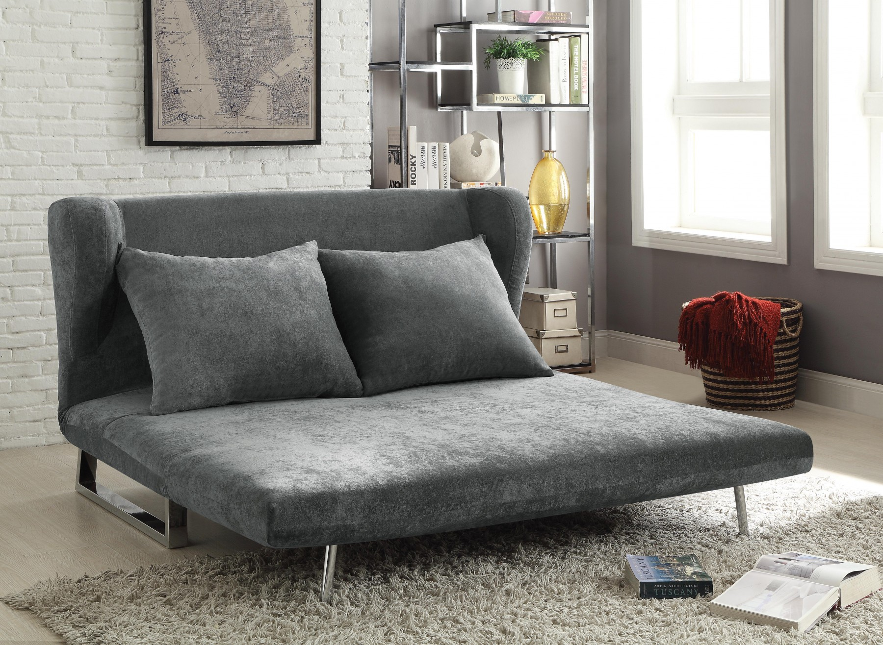 Grey Sofa In Lounge Contemporary Grey Sofa Bed Converts From Sofa To Chaise Lounge