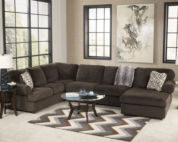 Office Sofa With High Back Jessa Place 3 Pc.chocolate Sectional | Marjen Of Chicago