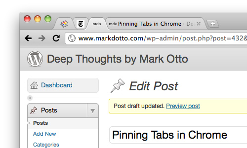 Pinning tabs in Chrome · @mdo