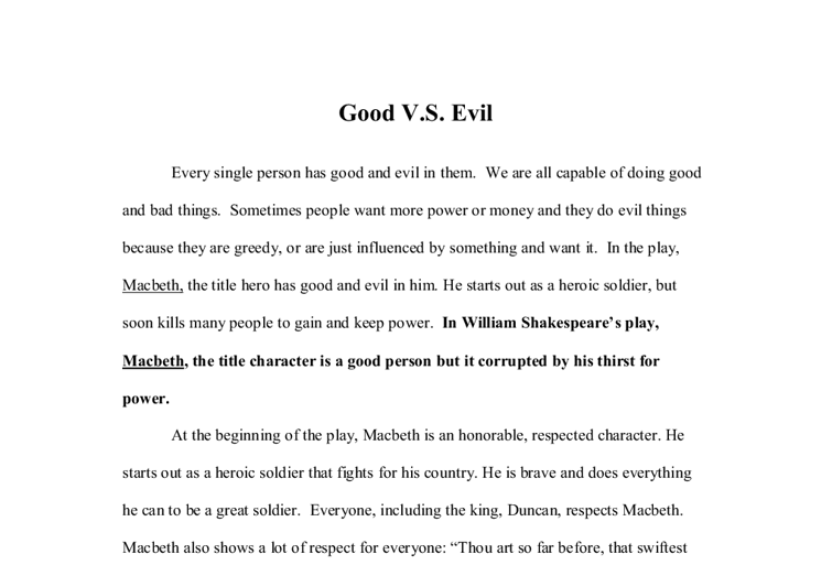 good and evil 7 essay