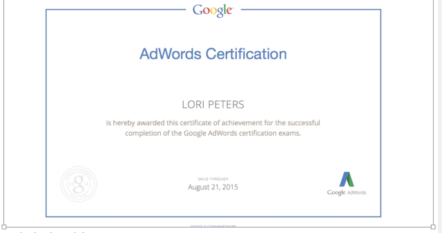 Lori Peters is Certified in Google Adwords