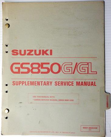 1983 Suzuki GS850 Service Manual Supplement GS850G GS850GL GS850GD