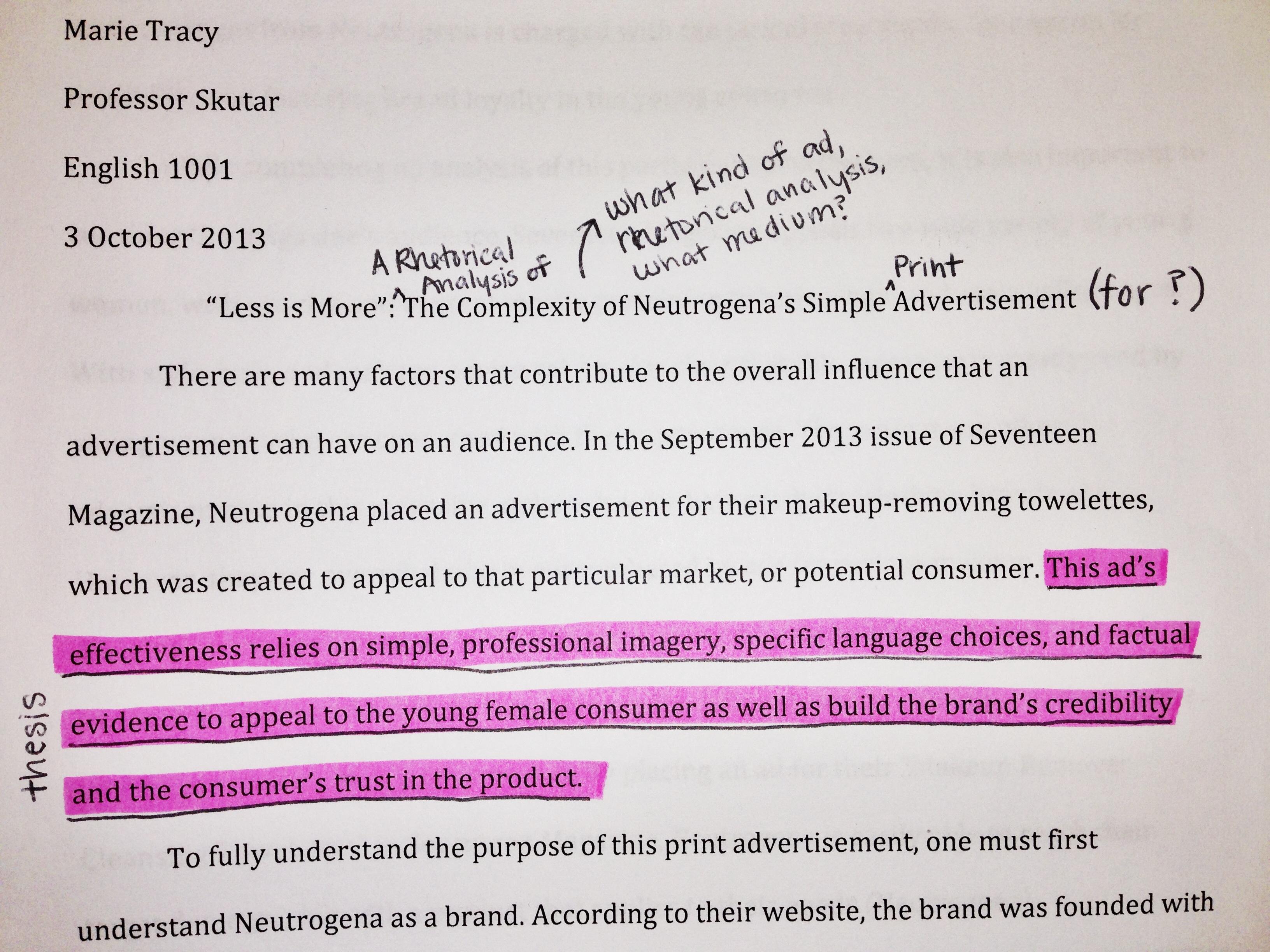rhetorical analysis ad essay
