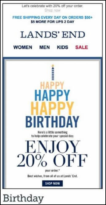 MarketingSherpa - sample happy birthday email
