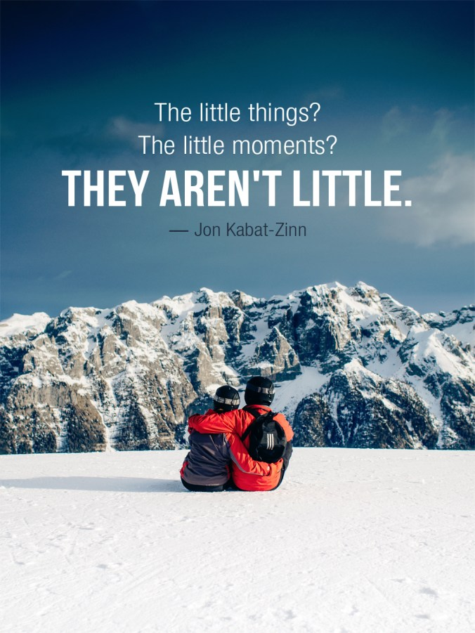 """The little things? The little moments? They aren't little."" ― Jon Kabat-Zinn"