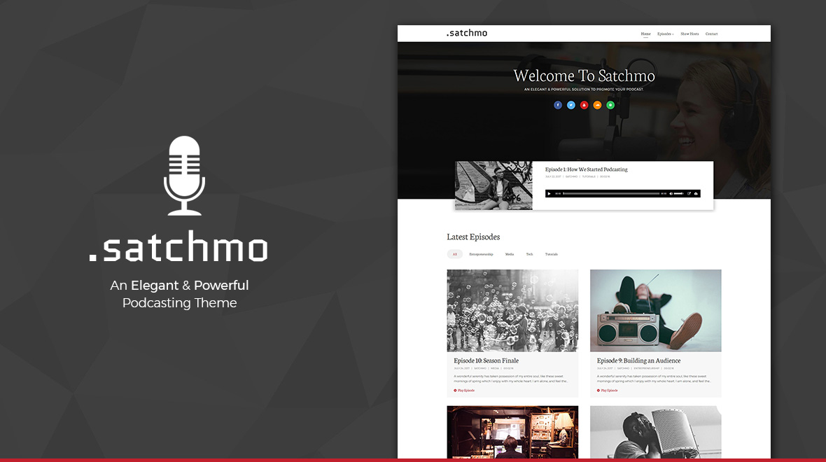 Satchmo - Minimal Podcast WordPress Theme - Themes  Templates - podcast website template