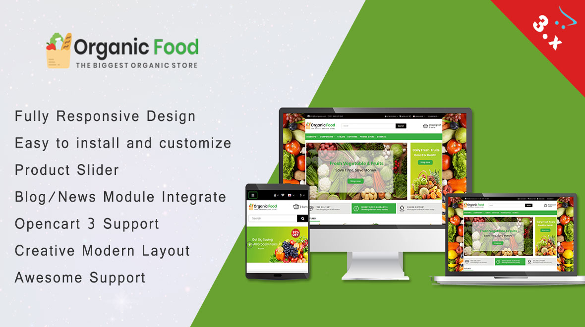 Organic Fruit Theme - Organic opencart theme, Fruit and vegetable