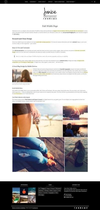 Janice - Fashion and Lifestyle WordPress Blogging Theme ...