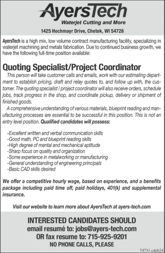 Quoting Specialist / Project Coordinator, AyersTech