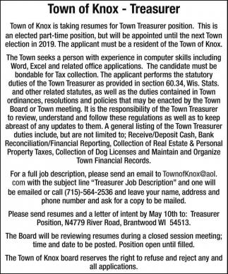 Treasurer, Town of Knox, Brantwood, WI - treasurer job description