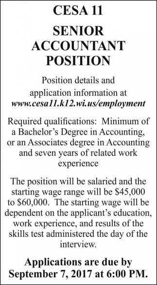 Senior Accountant Position, CESA 11 Head Star, Turtle Lake, WI