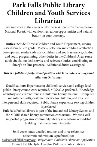 Children and Youth Services Librarian, Park Falls Public Library