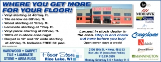 Come See The Largest Flooring Inventory in Barron County, Floor