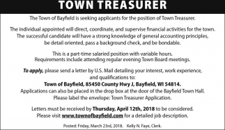 Town Treasurer, Town of Bayfield, Bayfield, WI