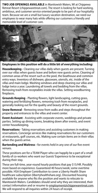 Housekeeping Openings Housekeeping Grounds Keeping Chippewa Retreat Resort Manitowish
