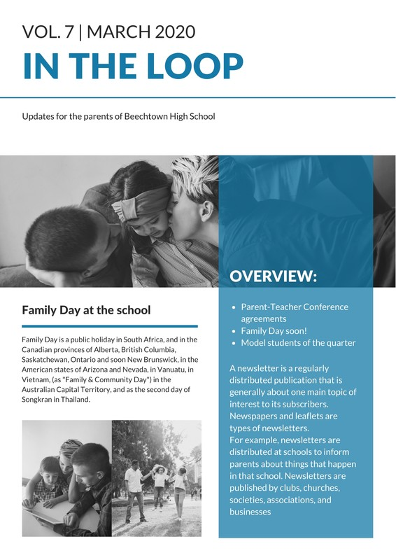 Parents Newsletter Templates