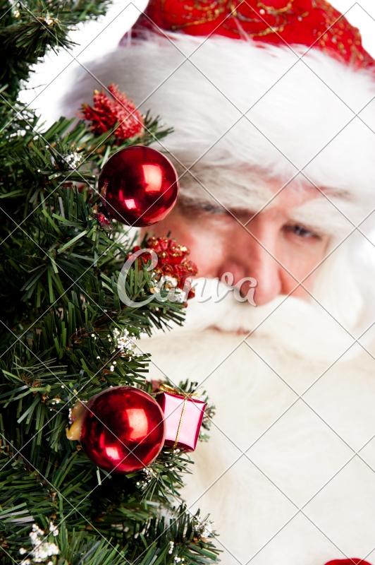 Christmas Theme Santa Claus Holding Christmas Tree and His Bag Full - christmas theme background