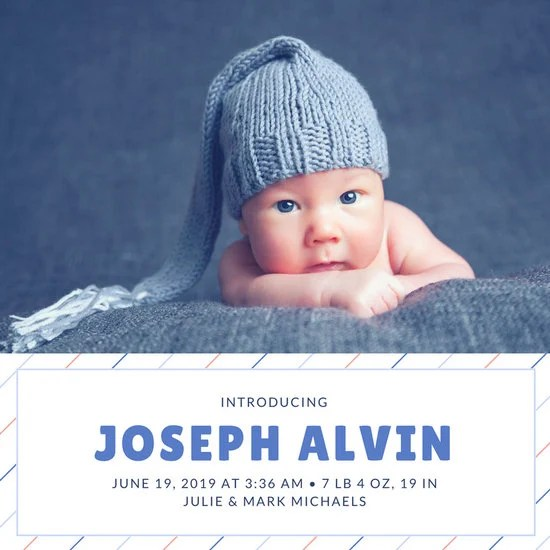 Newborn Baby Announcement Social Media Graphic - Templates by Canva