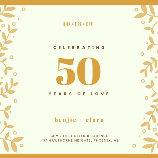 Golden Leaves 50th Anniversary Invitation - Templates by Canva - anniversary invitation template