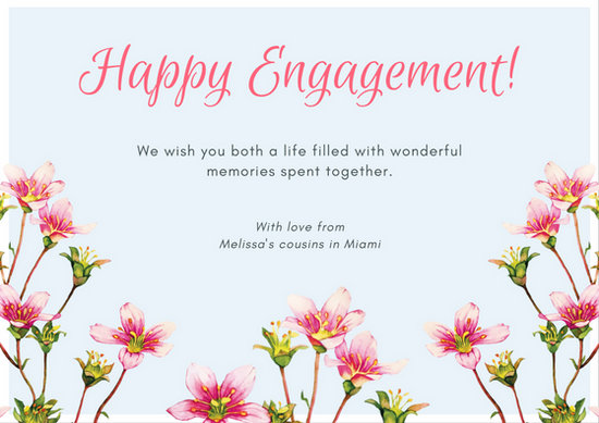 Pastel Blue with Pink Watercolor Flowers Engagement Card - Templates