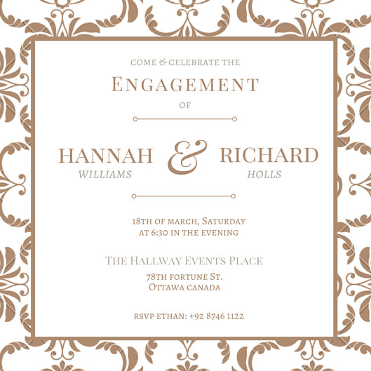 Vintage Floral Patterned Engagement Party Invitation - Templates by - Invitations Templates
