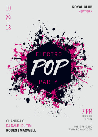 Electro Pop Music Party Flyer - Templates by Canva