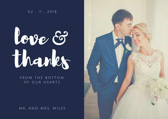 Navy Blue Wedding Thank You Card - Templates by Canva
