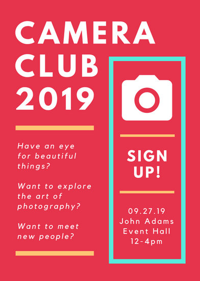 camera club sign up flyer