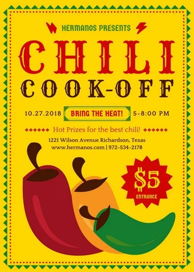 Chili Cook Off Event Flyer - Templates by Canva