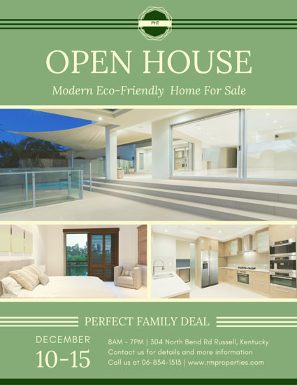 Modern Eco-Friendly Home Real Estate Flyer - Templates by Canva - home sale flyer template