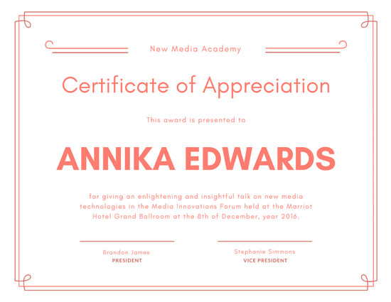 Customize 89+ Appreciation Certificate templates online - Canva - thank you certificate template