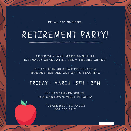 Blackboard Retirement Party Invitation - Templates by Canva