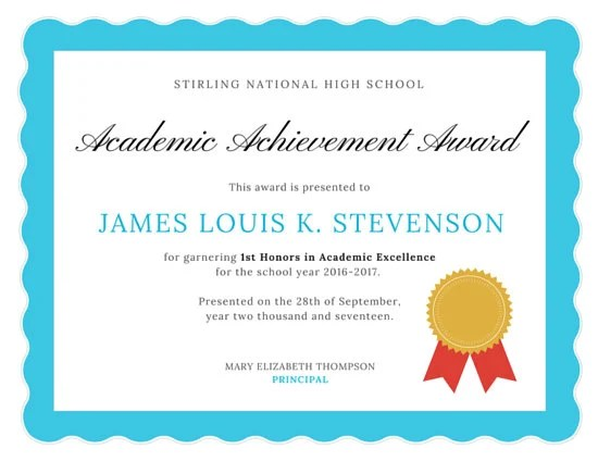 Academic Excellence Certificate - Templates by Canva - excellence award certificate template