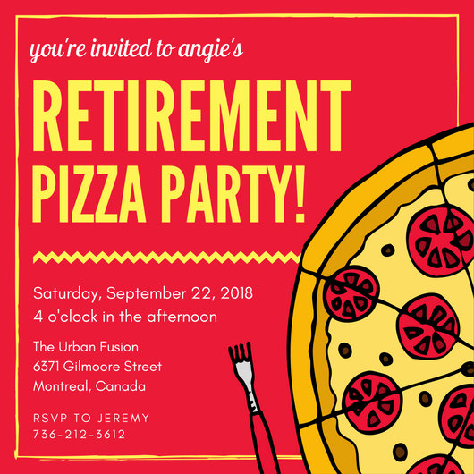 Pizza Retirement Party Invitation - Templates by Canva