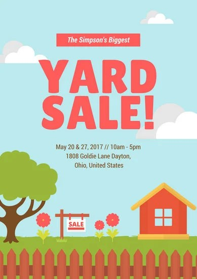 Illustrated Yard Sale Poster - Templates by Canva