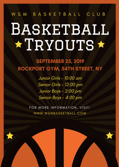 Basketball Club Tryouts Flyer - Templates by Canva - basketball flyer example