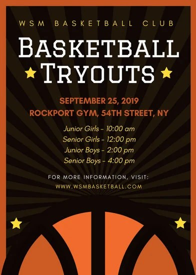 Basketball Club Tryouts Flyer - Templates by Canva