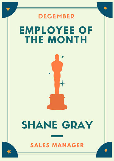 Trophy Employee of the Month Poster - Templates by Canva