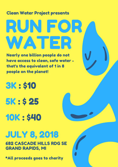 Water Fun Run Charity Poster - Templates by Canva