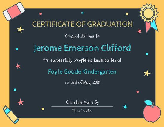 Chalkboard Kindergarten Diploma Certificate - Templates by Canva
