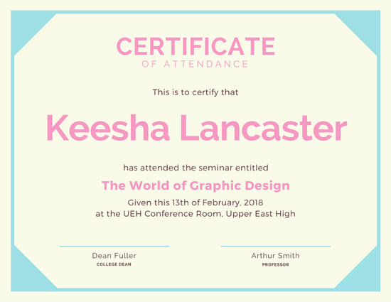 Customize 48+ Attendance Certificate templates online - Canva