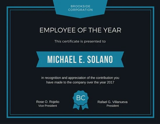 Employee of the Year Award Certificate - Templates by Canva - employee recognition certificate template