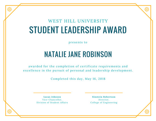 Yellow Student Leadership Award Certificate - Templates by Canva - student council certificates